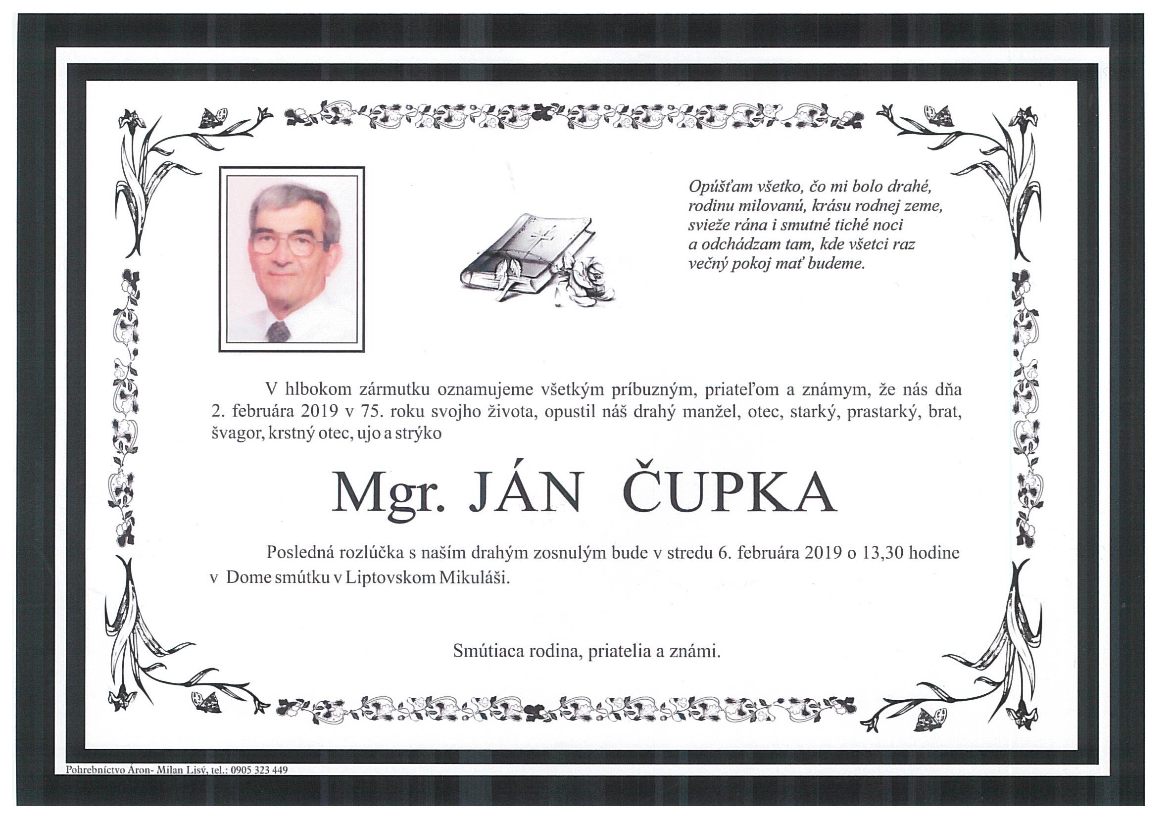 8663997e8 Opustil nás Janko Čupka